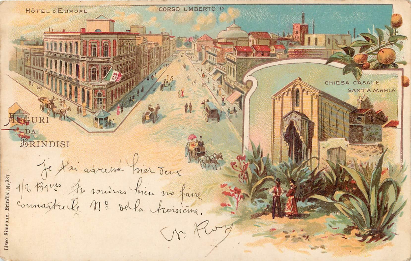 BRINDISI. Hôtel Europe corso Umberto I° et Chiesa 1905