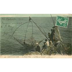 44 SAINT-NAZAIRE. La Pêche au Carrelet sur la Pointe Villez 1909