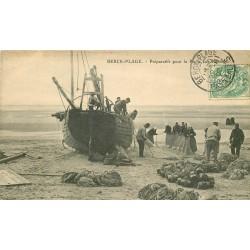 62 BERCK-PLAGE. Préparatifs pour la Pêche aux Harengs 1907