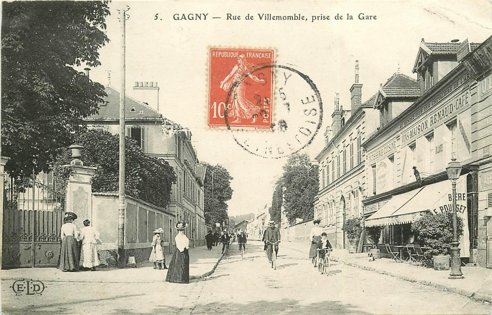 93 GAGNY. Café Brasserie rue de Villemomble 1908 avec cyclistes...