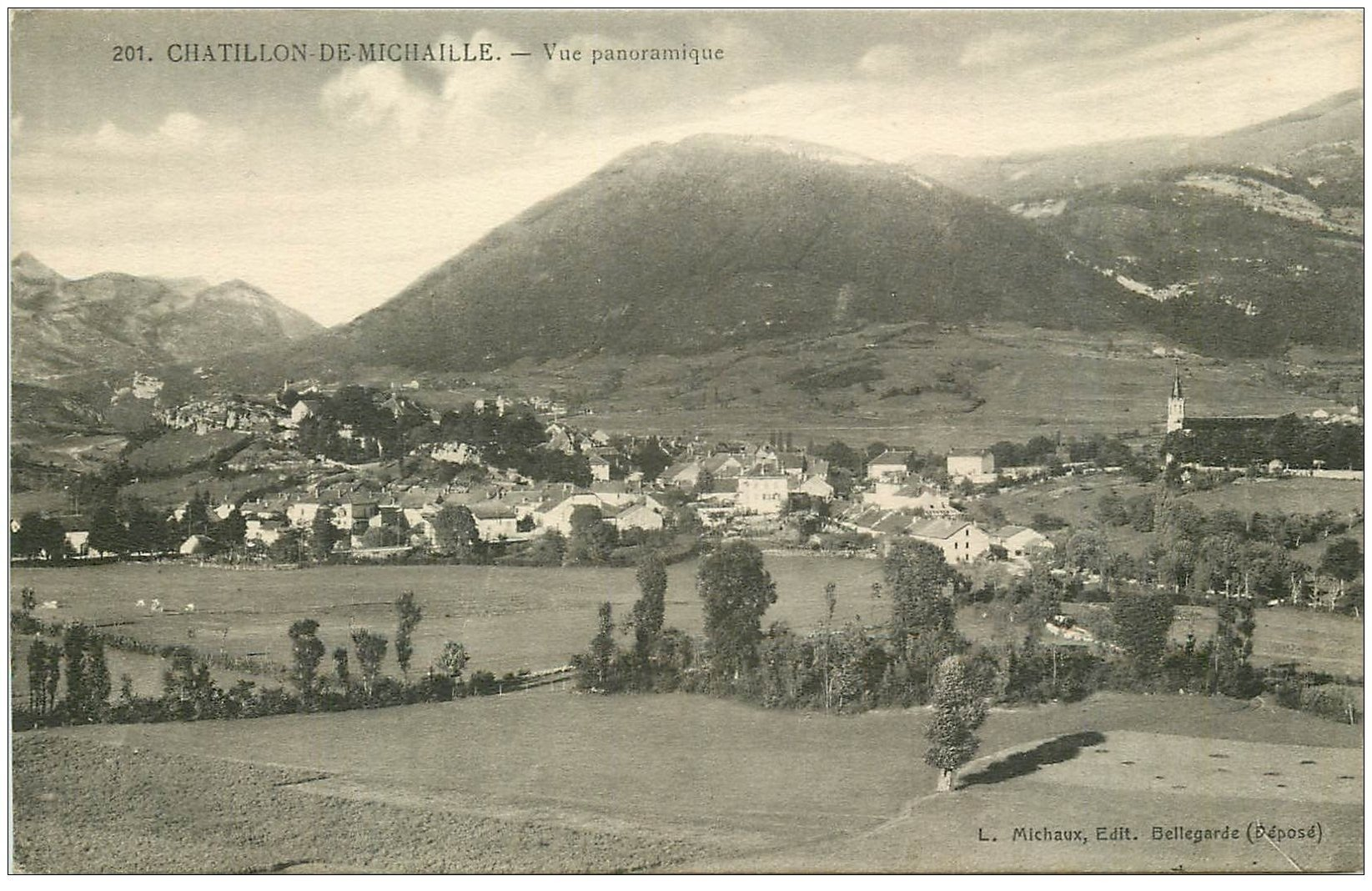 carte postale ancienne 01 Chatillon-de-Michaille. Vue panoramique. Ed Michaux