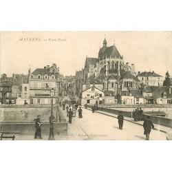 53 MAYENNE. Pont Neuf 1909 Restaurant Bigot et Banque Société Générale