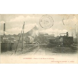 62 COURRIERES. Train à la Fosse n°8 des Mines 1904