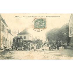 89 CHEROY. Roulotte au Marché aux volailles rue de la République 1906