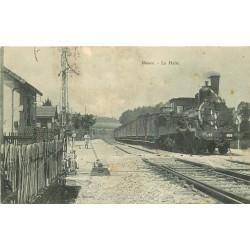 52 HUMES. Train et locomotive à vapeur en Gare de La Halte