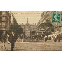 PARIS X. Hippomobile à impérial Boulevard Denain et Gare du Nord 1907