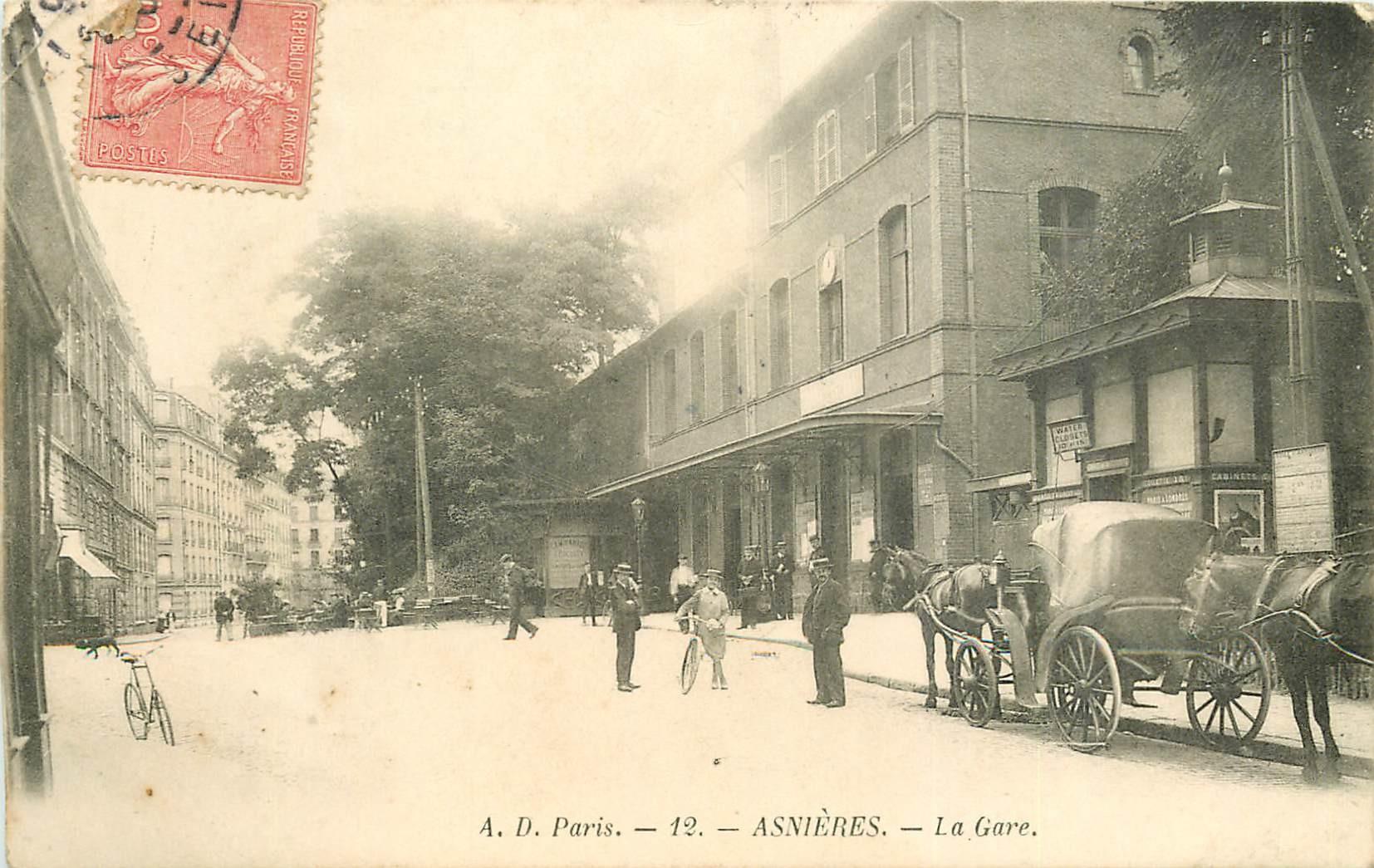 92 ASNIERES SUR SEINE. Fiacres devant la Gare 1906