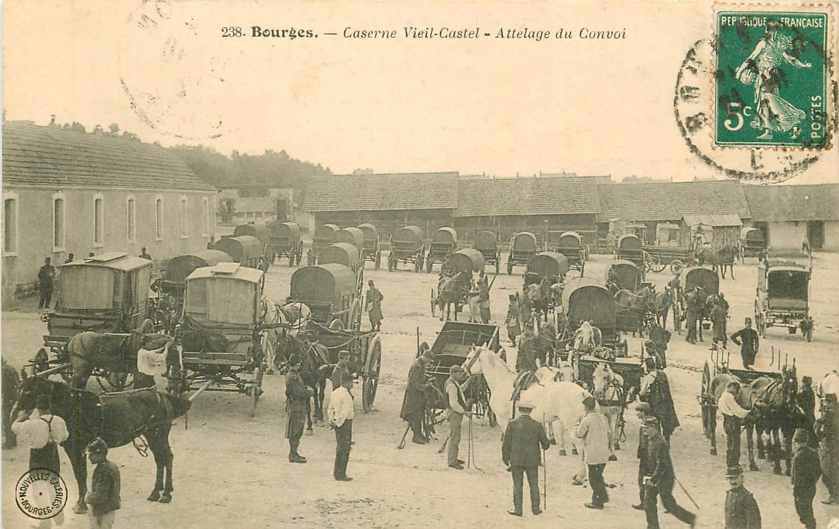 18 BOURGES. Attelage du Convoi à la Caserne Vieil-Castel 1912