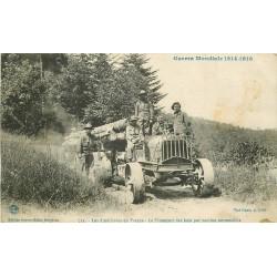 88 BRUYERES. Guerre 1914 les Américains en France Transport des bois par camions automobiles