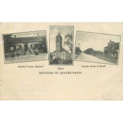 57 QUATRE-VENTS. Epicerie Antoine Cantine, Eglise et Ecole sur Grande Route 1928