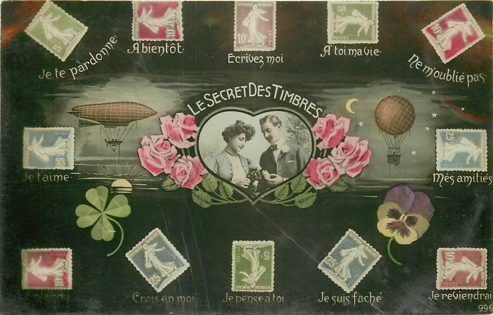 FANTAISIE. Le Secret des Timbres 1908 carte papier glacée