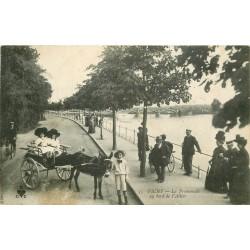 03 VICHY. Promenade attelage âne au bord de l'Allier 1913