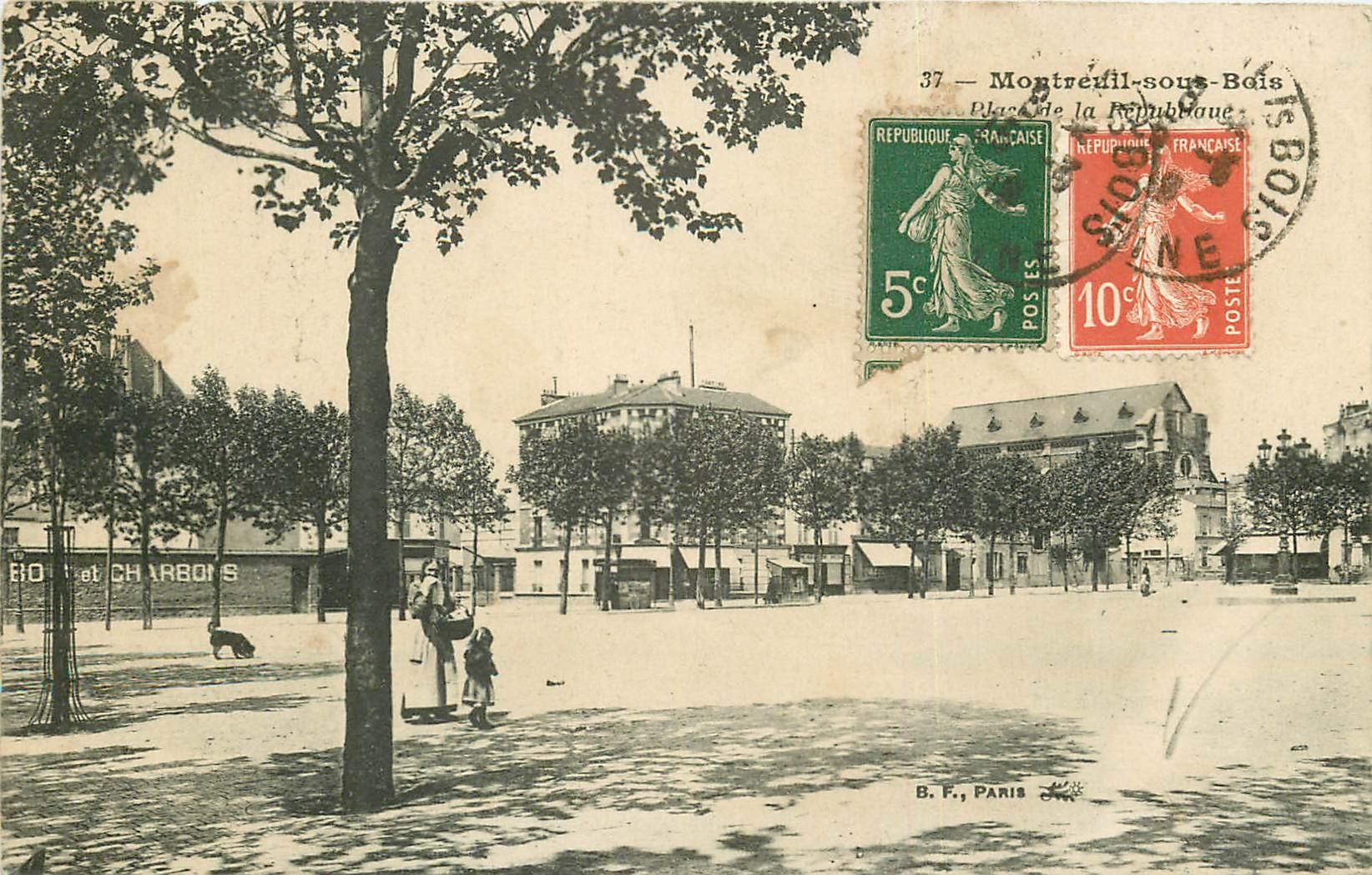 93 MONTREUIL-SOUS-BOIS. Place de la République vers 1923