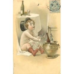 2 Cpa Bébé barman. Syphon, chapeau haut de forme et cocktail 1905. Cartes gaufrées