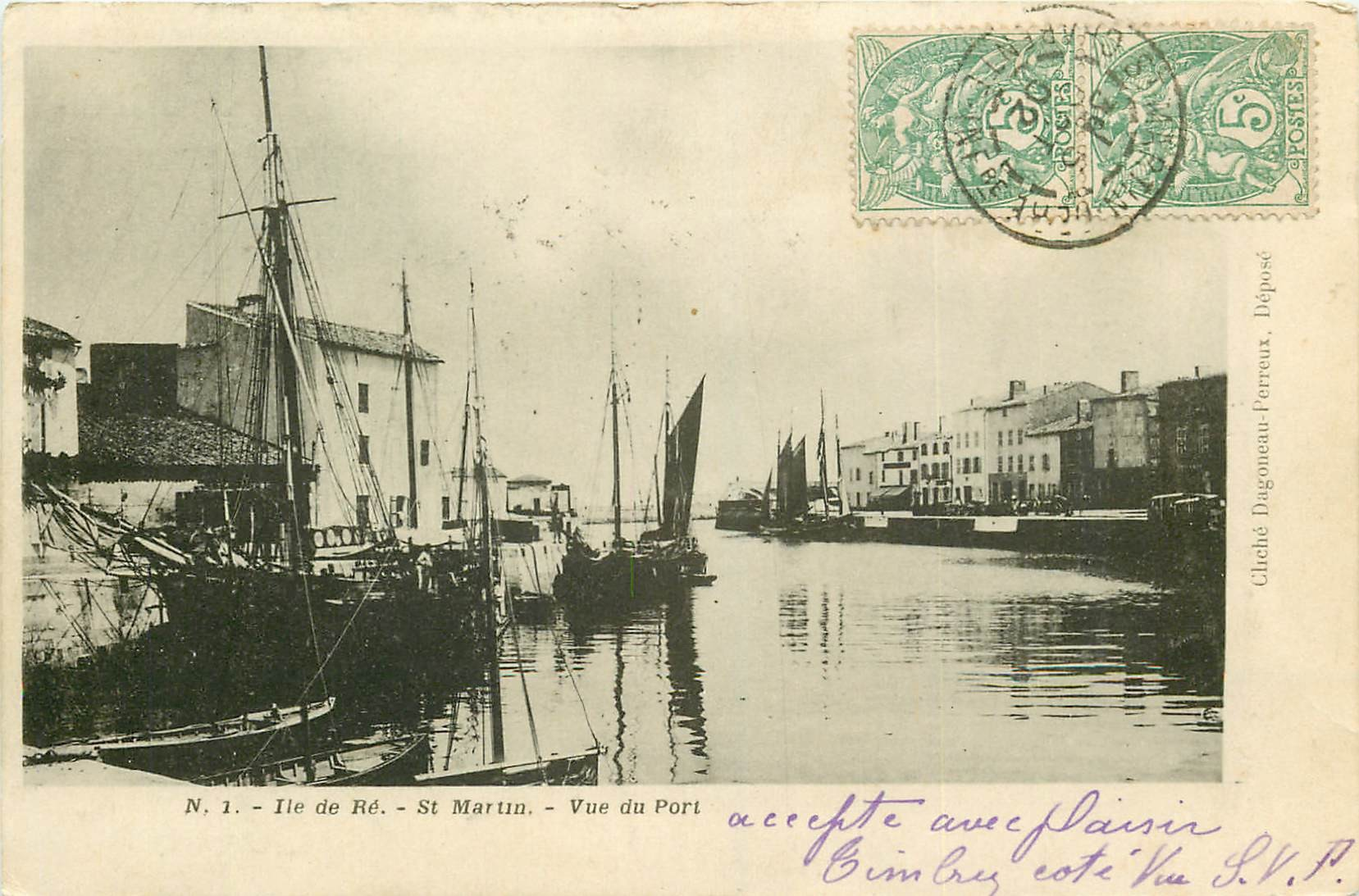 17 SAINT-MARTIN-DE-RE. Vue du Port 1902