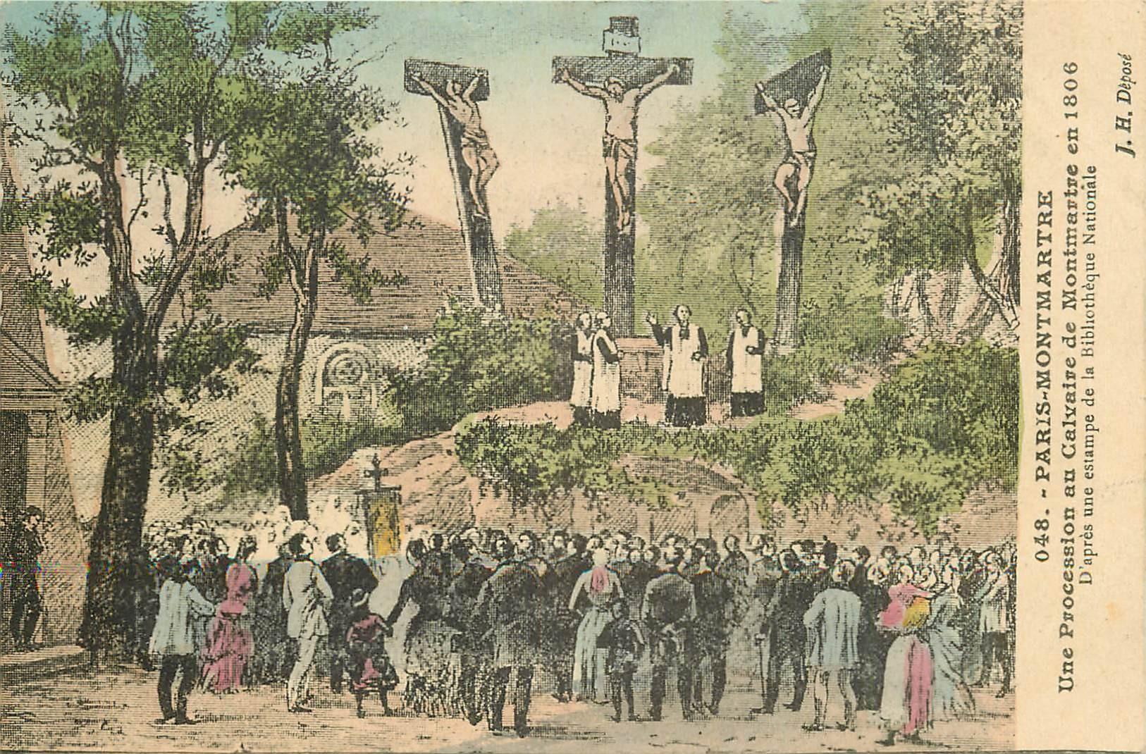 2 Cpa 75 PARIS MONTMARTRE. Procession Calvaire et Armée Russe sur la Butte