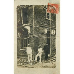 27 ETREPAGNY. Rare Photo Cpa la renovation du Restaurant Legros sur Grande Rue 1910