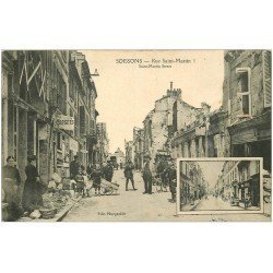 carte postale ancienne 02 SOISSONS. 1914-18 Rue Saint-Martin