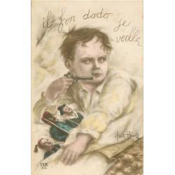 "Illustrateur ALBERT BEERTS. Les Soldats de plomb "" il fon dodo je veille """