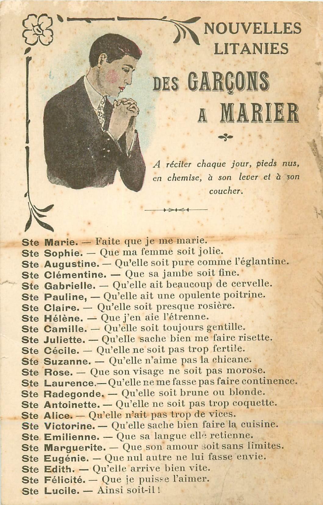 Nouvelles litanies pour des Garçons à marier. trace d'ancienneté et vierge