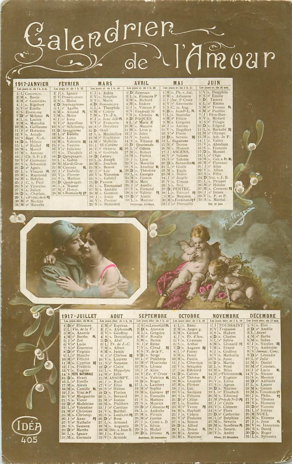 Calendrier de l'Amour avec un Poilu 1917