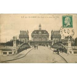 62 SAINT-OMER. La Gare et Pont sur Aa vers 1920