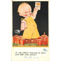 Illustrateur Mabel Lucie Attwell. Culture des Fleurs pour votre arrivée...
