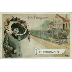 63 FOURNOLS. Un Bonjour avec Train en Gare. Carte émaillographie