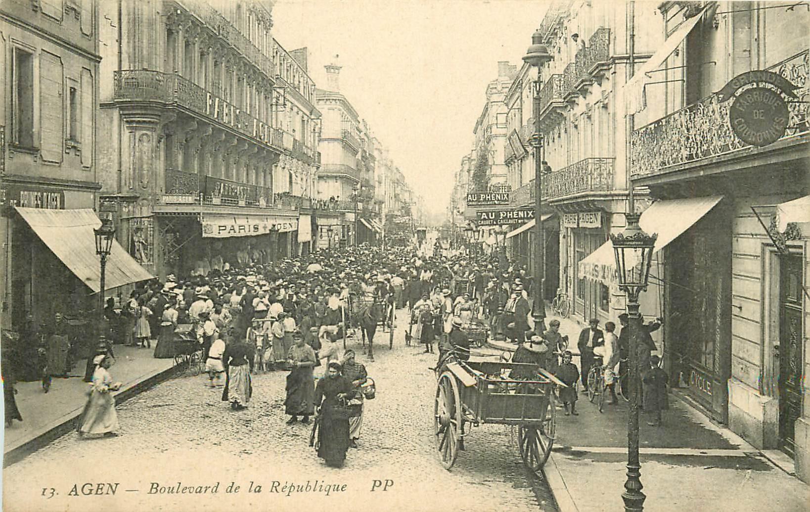 2 Cpa 47 AGEN. Boulevards de la République et Carnot