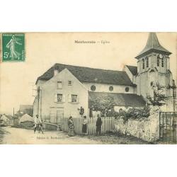 77 MONTEVRAIN. L'Eglise et Cabanon pompe à incendie vers 1910