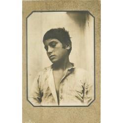 TAORMINA. Photo carte postale par Gloeden. Adolph Engel. Portrait d'un beau Jeune Homme