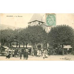 2 cpa 41 SALBRIS. Le Marché et Hôtel des Voyageurs Place de l'Eglise 1907