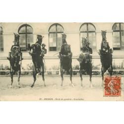 2 cpa 49 SAUMUR. Ecole de Cavalerie. Courbettes et Doublé au Carroussel 1913