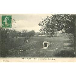 78 ETANG-LA-VILLE. Chasseur et son Chien près Dolmen Parc du Château 1908