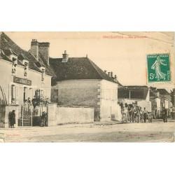 89 VINCELOTTES. Attelage devant Café Hôtel Véret rue Principale 1910