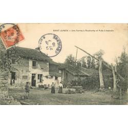 87 SAINT-JUNIEN. Ferme à Rieubarby avec Puits à bascule 1910