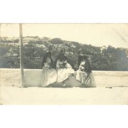 MALTE. Rare Photo Cpa groupe de Jeunes Femmes en habit et coiffe traditionnels