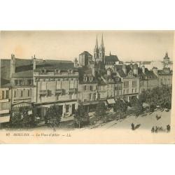 03 MOULINS. Banque Société Générale et Café de Paris sur Place Allier 1918