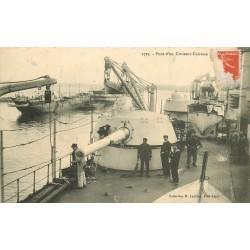 TRANSPORTS MILITARIA. Canon sur le Pont d'un Croiseur Cuirassé