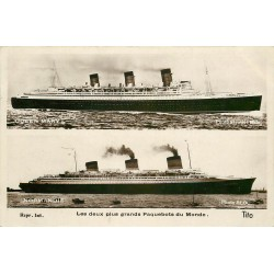 TRANSPORTS. Deux plus grands Paquebots du Monde Queen Mary et Normandy