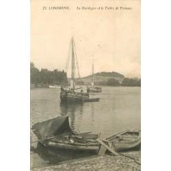 33 LIBOURNE. Bateaux et barques de Pêcheurs sur la Dordodne avec Tertre Fronsac 1916