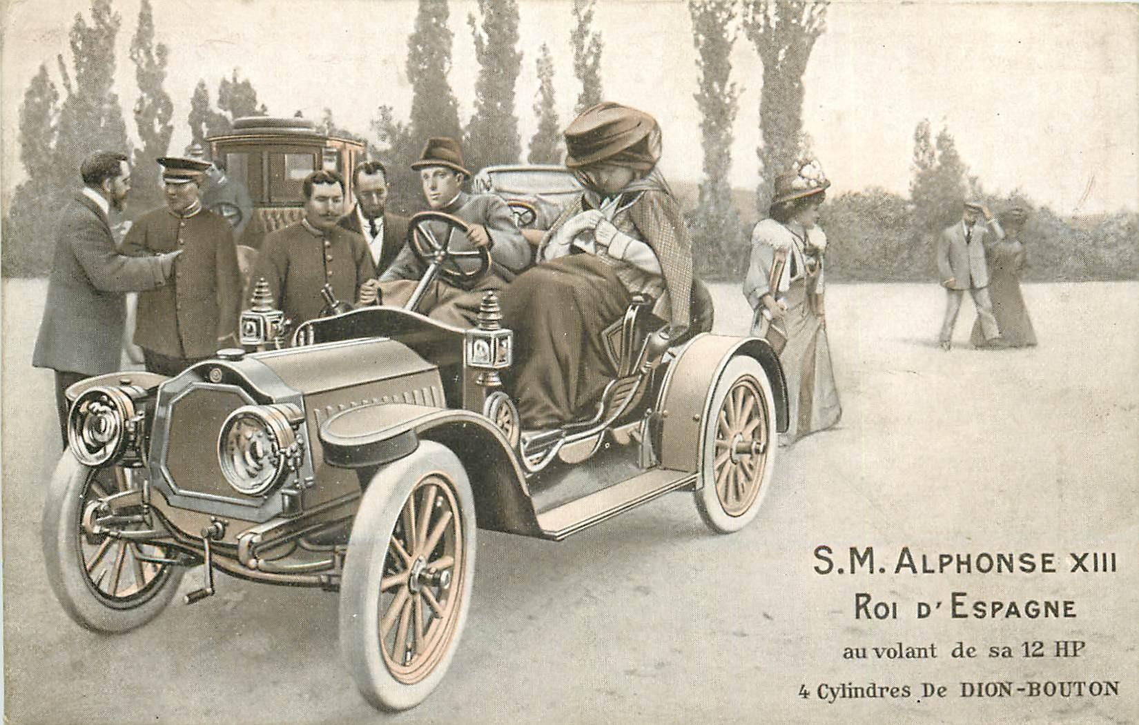 Le Roi d'Espagne Alphonse XIII au volant de sa 12 HP de Dion-Bouton