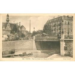 93 PANTIN. La Mairie et Pont du Canal de l'Ourcq 1936