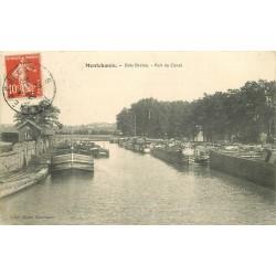 71 MONTCHANIN. Bois Bretou. Péniches attendant leur chargement au Port du Canal 1913