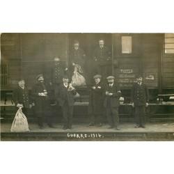 78 ACHERES. Rare Photo carte postale des Transports Postaux en trains avec les Employé Guerre 1914 pour Noisy-le-Sec