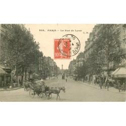 75 PARIS XII° Cocher et son attelage rue de Lyon 1909