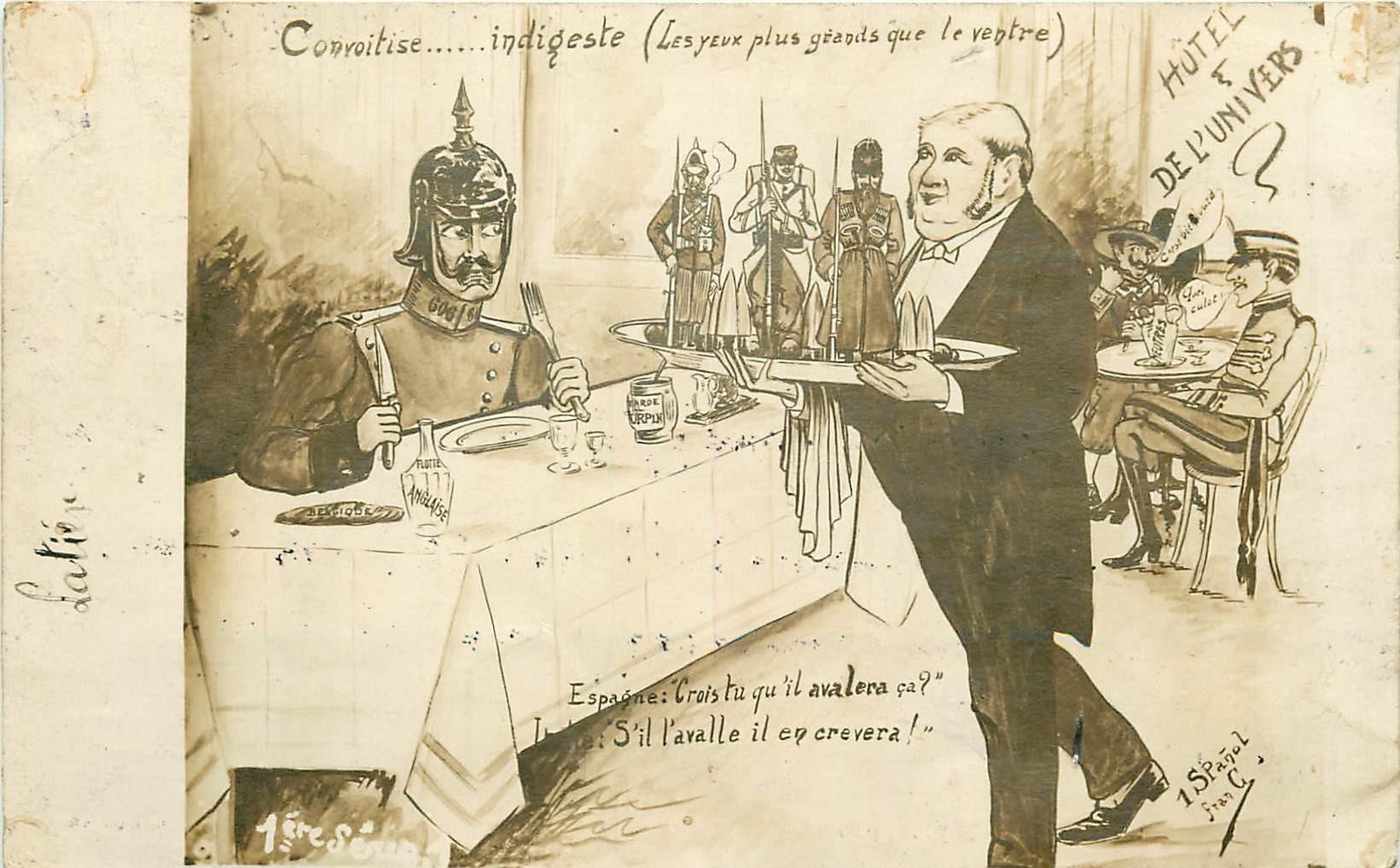 MILITARIA Satirique - Guillaume II - Convoitise ...Indigeste - Alliés, Alphonse XIII