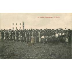 CASABLANCA. La Nouba par un Régiment de Tirailleurs militaires avec tambours 1917