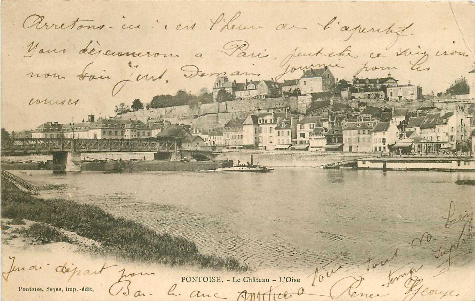 95 PONTOISE. Le Château et Péniche sous le Pont de fer 1903