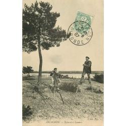 33 ARCACHON. Echassiers Landais joueur de pipeau 1907